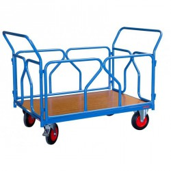 Chariot modulaire 500 kg - Habillage tube, 2 dossiers + 2 ridelles