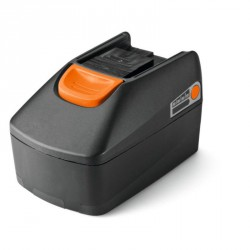 Batterie Lithium-ion 18 V, 4 Ah avec indicateur de charge.