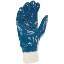 Lot de 10 gants nitrile (3/4). Enduction légère. Support coton cousu. Poignet tricot.