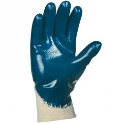Lot de 10 gants nitrile (3/4). Enduction lourde. Support coton cousu. Poignet tricot.