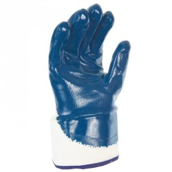 Lot de 10 gants nitrile (3/4). Enduction lourde. Support coton cousu. Manchette toile.