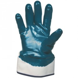 Lot de 10 gants nitrile (3/4). Enduction lourde. Support coton cousu. Manchette toile