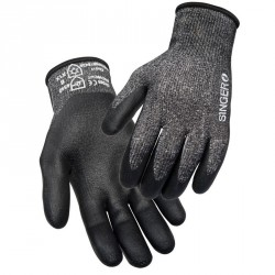 Lot de 10 gants PEHD. Coupure 5. Paume enduite nitrile mousse. Jauge 10
