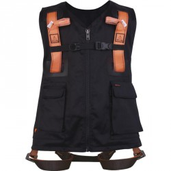 5 Harnais gilets Noir/orange, 2 points d'accrochage (Dorsal/Sternal) - HAR12GILNO