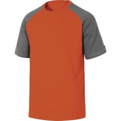 Tee-shirt bicolore manches courtes 100% coton, Gris-Orange - GENOA